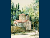 Watercolour, Church in woods, Vonitsa. 18 x 23.5cm