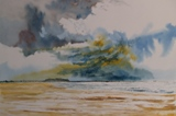 Watercolour, Fortezza, along Rethymno beach 33.5 x 23cm
