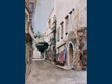 Watercolour. Back Street Shops, Rethymno. 26.5 x 19.5