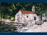Watercolour. Five Virgins Church, Nr Argiroupolis. 16.5 x 25