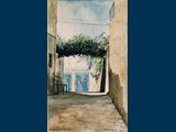 Watercolour. Side Street in Galaxidi. 23.5 x 14.5